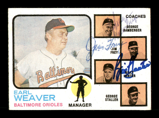 George Bamberger, Jim Frey & Billy Hunter Autographed 1973 Topps Card #136 Baltimore Orioles SKU #167579