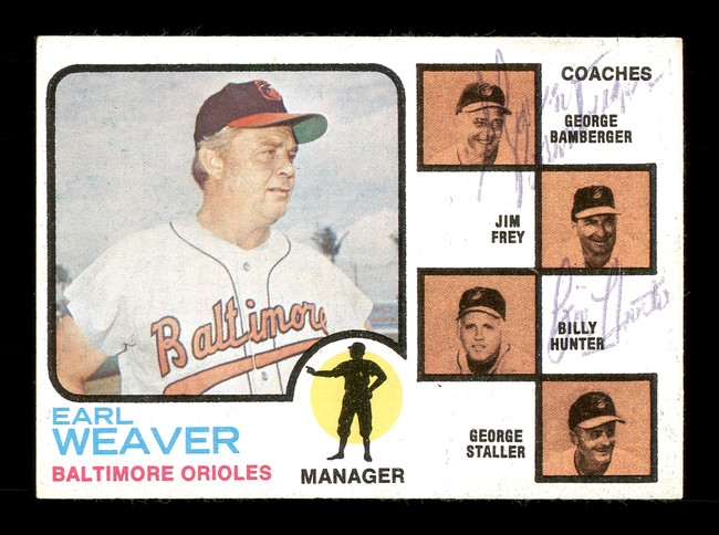 George Bamberger & Billy Hunter Autographed 1973 Topps Card #136 Baltimore Orioles SKU #167581