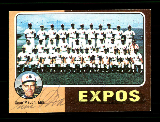 Gene Mauch Autographed 1975 Topps Mini Card #101 Montreal Expos SKU #168586