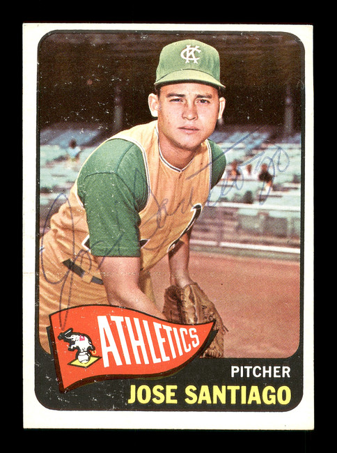 Jose Santiago Autographed 1965 Topps Rookie Card #557 Kansas City A's SKU #170567