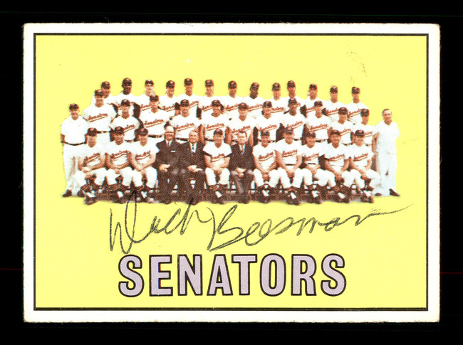 Dick Bosman Autographed 1967 Topps Team Card #437 Washington Senators SKU #170899