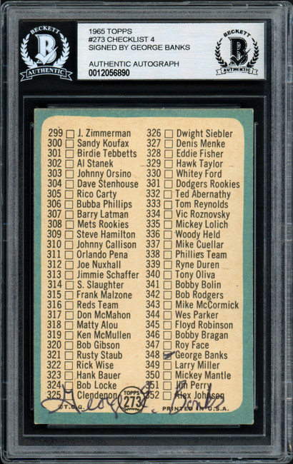 George Banks Autographed 1965 Topps Checklist Card #273 Cleveland Indians Beckett BAS #12056890