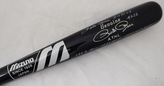"Pete Rose Autographed Black Mizuno Bat Cincinnati Reds Stat Bat ""Hit King & 4256"" In White PR Holo Stock #178273"
