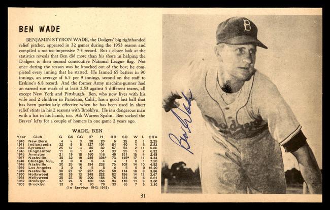 Ben Wade Autographed 5x8 Magazine Page Photo Brooklyn Dodgers SKU #179782