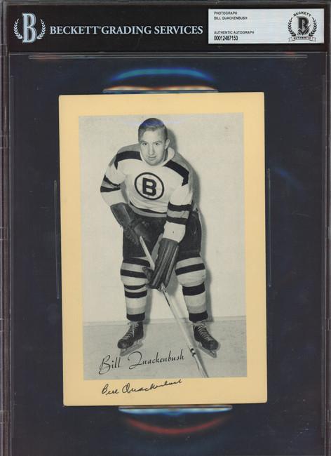 Bill Quackenbush Autographed 1944-63 Beehive Group 2 5.5x8 Photo Boston Bruins Beckett BAS #12487153