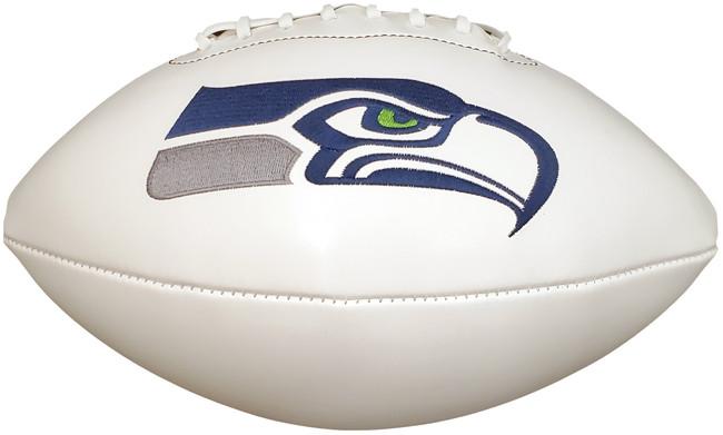 Unsigned Seattle Seahawks White Logo Football Stock #182253