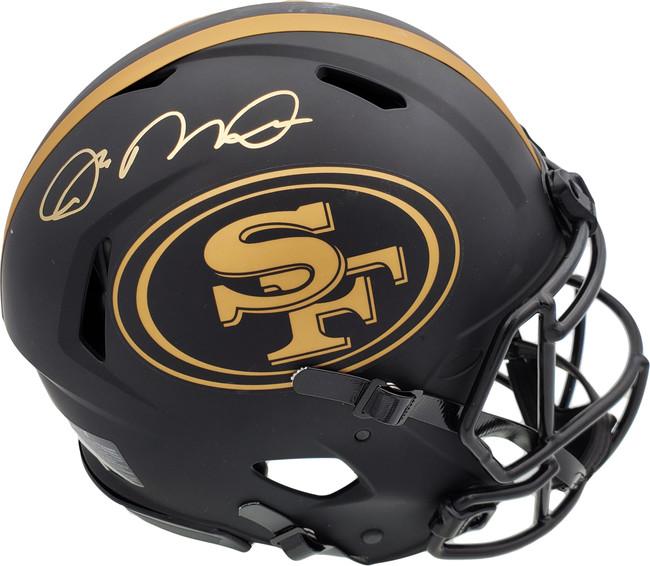 Joe Montana Autographed San Francisco 49ers Black Eclipse Full Size Authentic Speed Helmet Beckett BAS Stock #182272