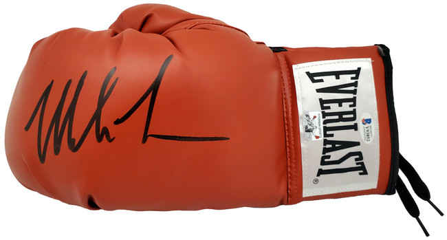 Mike Tyson Autographed Red Everlast Boxing Glove LH Signed In Black Beckett BAS Stock #182690