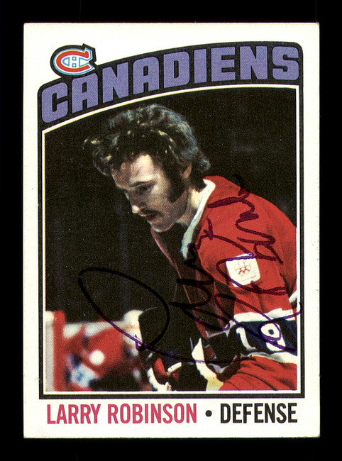 Larry Robinson Autographed 1976-77 Topps Card #151 Montreal Canadiens SKU #183150
