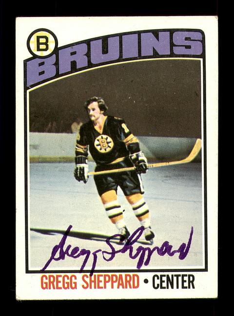 Gregg Sheppard Autographed 1976-77 Topps Card #155 Boston Bruins SKU #183153