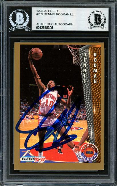 Dennis Rodman Autographed 1992-93 Fleer Card #239 Detroit Pistons Beckett BAS Stock #184852