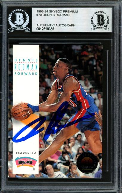 Dennis Rodman Autographed 1993-94 Skybox Card #70 Detroit Pistons Beckett BAS #12518355