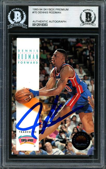 Dennis Rodman Autographed 1993-94 Skybox Card #70 Detroit Pistons Beckett BAS #12518353
