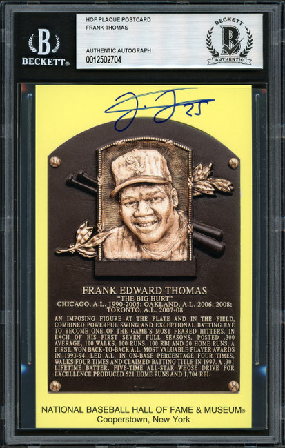 Frank Thomas Autographed HOF Plaque Postcard Chicago White Sox Beckett BAS Stock #185248