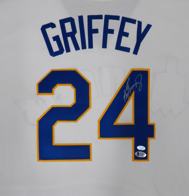Seattle Mariners Ken Griffey Jr. Autographed White Majestic Cooperstown Throwback Jersey Size XXL Beckett BAS & MCS Holo Stock #185669
