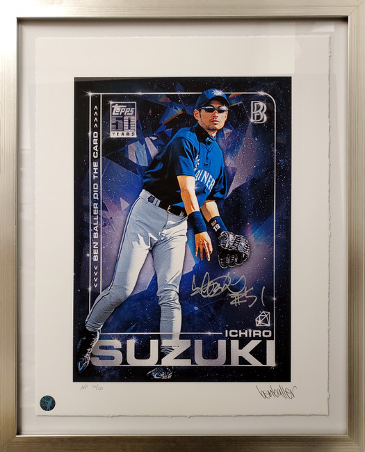 """Ichiro Suzuki Autographed Framed Topps Project 2020 Fine Art Print Seattle Mariners """"51"""" With Ben Baller AP #/20 IS Holo Stock #190513"""