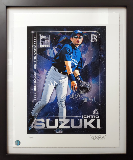 """Ichiro Suzuki Autographed Framed Topps Project 2020 Fine Art Print Seattle Mariners """"51"""" With Ben Baller #/99 IS Holo Stock #190514"""