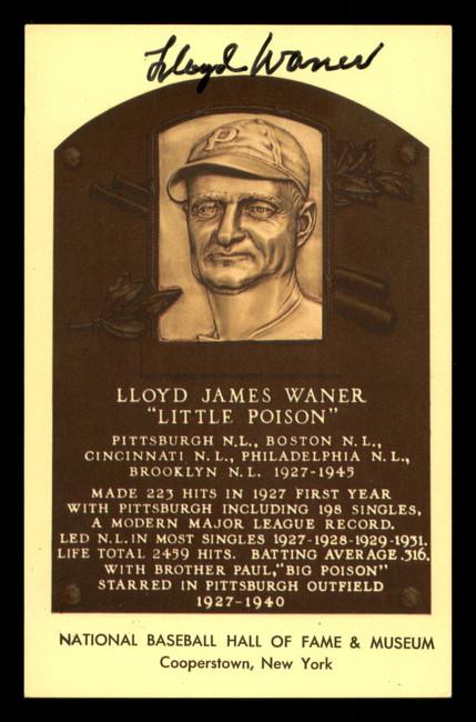 Lloyd Waner Autographed HOF Plaque Postcard Pittsburgh Pirates SKU #190935