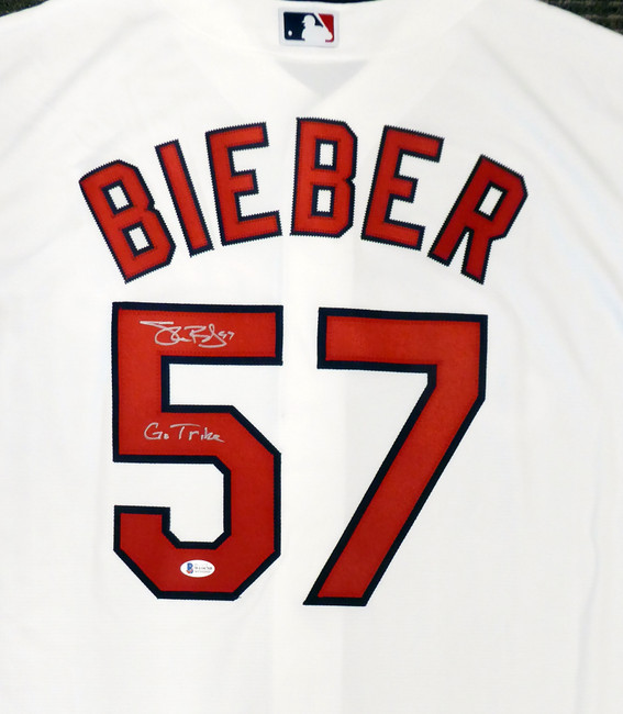 """Cleveland Indians Shane Bieber Autographed White Nike Jersey Size L """"Go Tribe"""" Beckett BAS Stock #190031"""