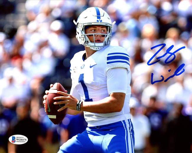 Zach Wilson Autographed 8x10 Photo BYU Cougars Beckett BAS Stock #191144