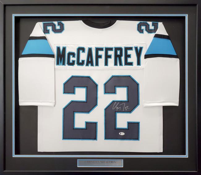 Carolina Panthers Christian McCaffrey Autographed Framed White Jersey Beckett BAS Stock #191182