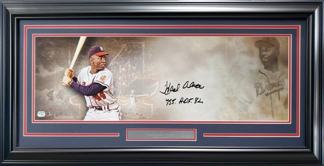 "Hank Aaron Autographed Framed 10x30 Panoramic Photo Milwaukee Braves ""755 HOF 82"" Fanatics Stock #191202"