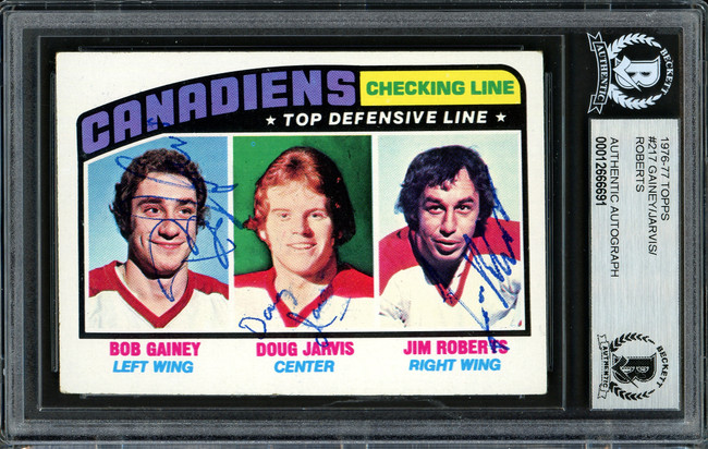Bob Gainey, Doug Jarvis & Jim Roberts Autographed 1976-77 Topps Card #217 Montreal Canadiens Beckett BAS #12666691