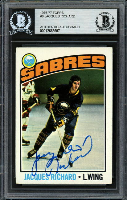Jacques Richard Autographed 1976-77 Topps Card #8 Buffalo Sabres Beckett BAS #12666697