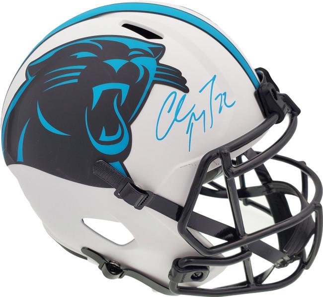 Christian McCaffrey Autographed Carolina Panthers Lunar Eclipse White Full Size Replica Speed Helmet Beckett BAS Stock #192524