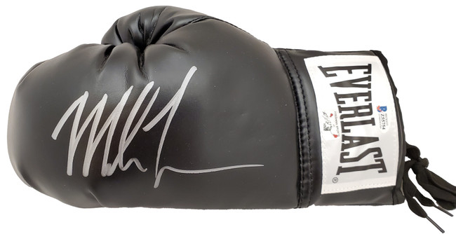 Mike Tyson Autographed Black Everlast Boxing Glove LH Signed In Silver Beckett BAS Stock #192608
