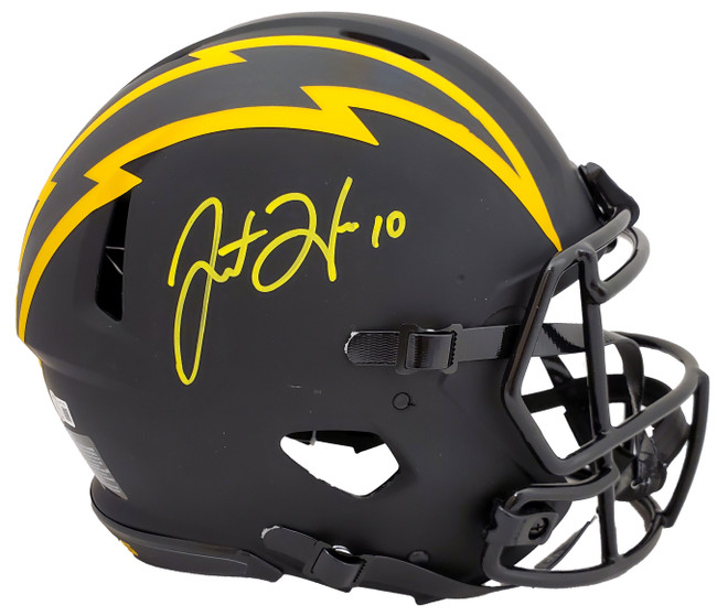Justin Herbert Autographed Los Angeles Chargers Eclipse Black Full Size Authentic Speed Helmet Beckett BAS QR Stock #192614