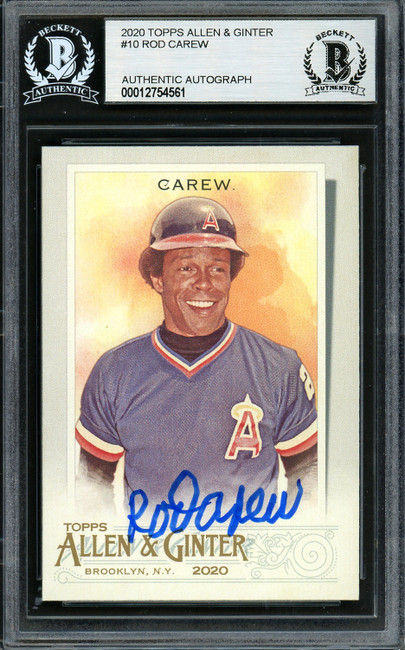 Rod Carew Autographed 2020 Topps Allen & Ginter Card #10 California Angels Beckett BAS Stock #193421