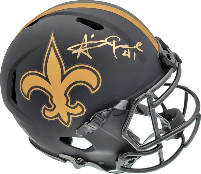 Alvin Kamara Autographed New Orleans Saints Eclipse Black Full Size Authentic Speed Helmet Beckett BAS QR Stock #193491