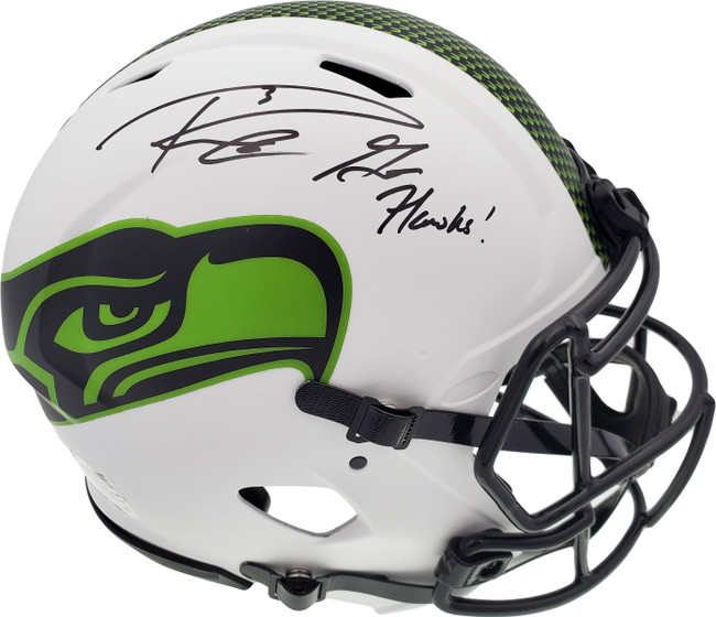 """Russell Wilson Autographed Seattle Seahawks White Lunar Eclipse Full Size Authentic Speed Helmet """"Go Hawks"""" RW Holo & Beckett BAS Stock #194033"""