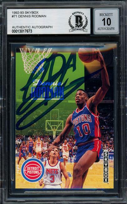 Dennis Rodman Autographed 1992-93 Skybox Card #71 Detroit Pistons Auto Grade Gem Mint 10 Beckett BAS #13017673
