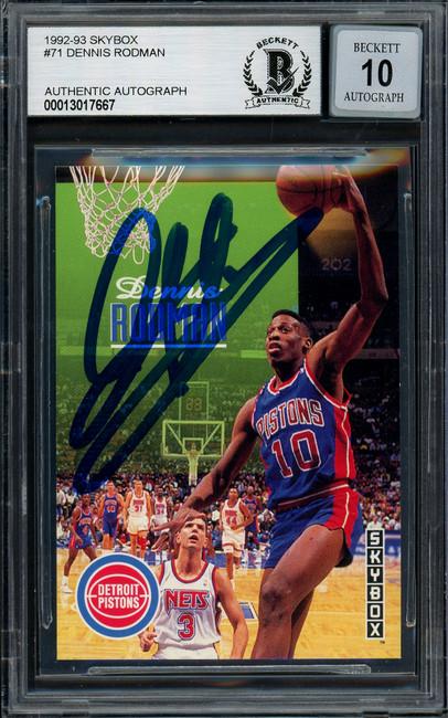 Dennis Rodman Autographed 1992-93 Skybox Card #71 Detroit Pistons Auto Grade Gem Mint 10 Beckett BAS #13017667