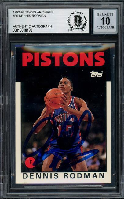 Dennis Rodman Autographed 1993-94 Topps Archives Card #86 Detroit Pistons Auto Grade Gem Mint 10 Beckett BAS #13018180