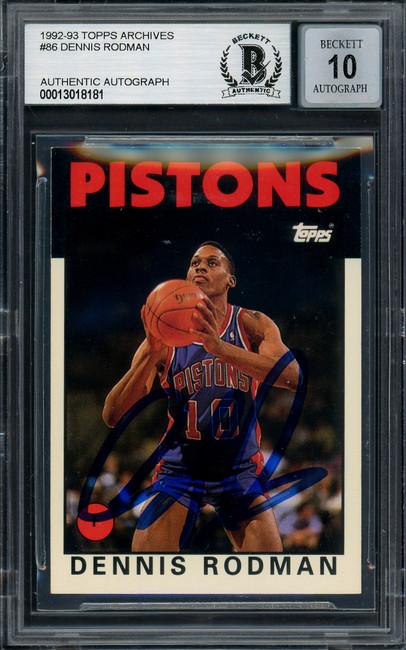Dennis Rodman Autographed 1993-94 Topps Archives Card #86 Detroit Pistons Auto Grade Gem Mint 10 Beckett BAS #13018181