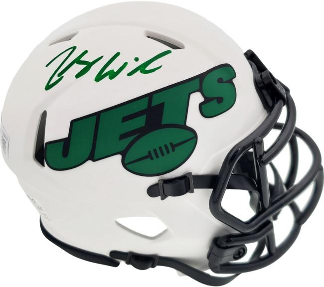 Zach Wilson Autographed New York Jets Lunar Eclipse White Speed Mini Helmet Beckett BAS QR Stock #194722