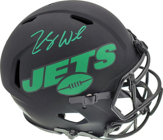 Zach Wilson Autographed New York Jets Eclipse Black Full Size Authentic Speed Helmet Beckett BAS QR Stock #194731