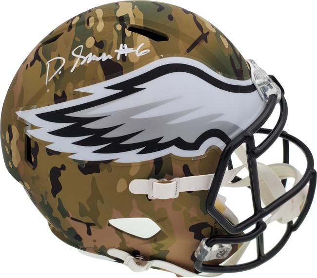 DeVonta Smith Autographed Philadelphia Eagles Camo Full Size Replica Speed Helmet Beckett BAS QR Stock #194902
