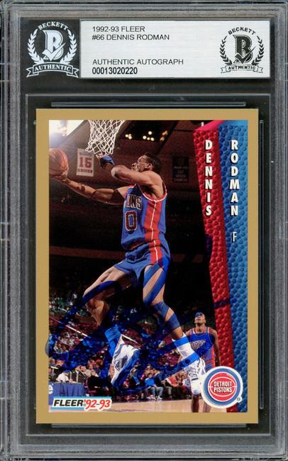 Dennis Rodman Autographed 1992-93 Fleer Card #66 Detroit Pistons Beckett BAS #13020220