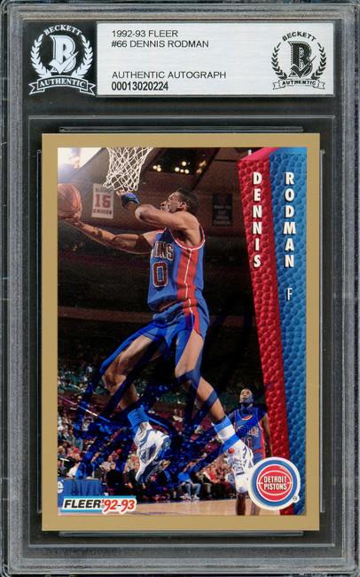 Dennis Rodman Autographed 1992-93 Fleer Card #66 Detroit Pistons Beckett BAS #13020224