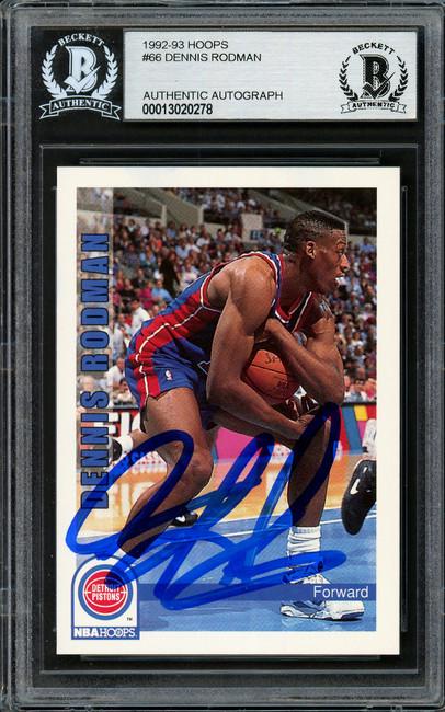 Dennis Rodman Autographed 1992-93 Hoops Card #66 Detroit Pistons Beckett BAS #13020278