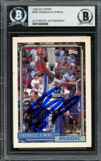 Shaquille Shaq O'Neal Autographed 1992-93 Topps Rookie Card #362 Orlando Magic (Off Condition) Beckett BAS #13020384
