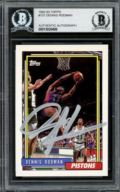 Dennis Rodman Autographed 1992-93 Topps Card #137 Detroit Pistons In Silver Beckett BAS Stock #195075