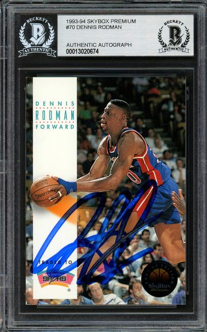 Dennis Rodman Autographed 1993-94 Skybox Card #70 Detroit Pistons Beckett BAS #13020674
