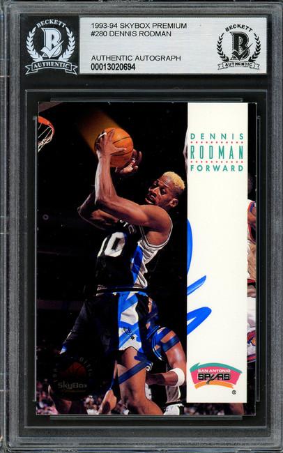 Dennis Rodman Autographed 1993-94 Skybox Card #280 San Antonio Spurs Beckett BAS Stock #195137