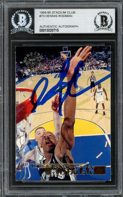 Dennis Rodman Autographed 1994-95 Stadium Club Card #73 San Antonio Spurs Beckett BAS #13020715