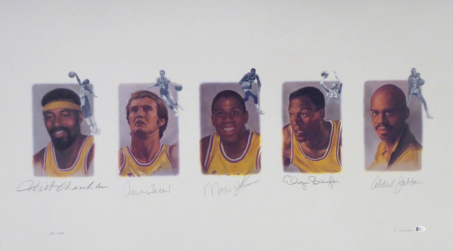 Los Angeles Lakers Legends Autographed Lithograph With 5 Signatures Including Wilt Chamberlain, West, Johnson, Baylor & Abdul-Jabbar AP #/165 Beckett BAS Stock #195249